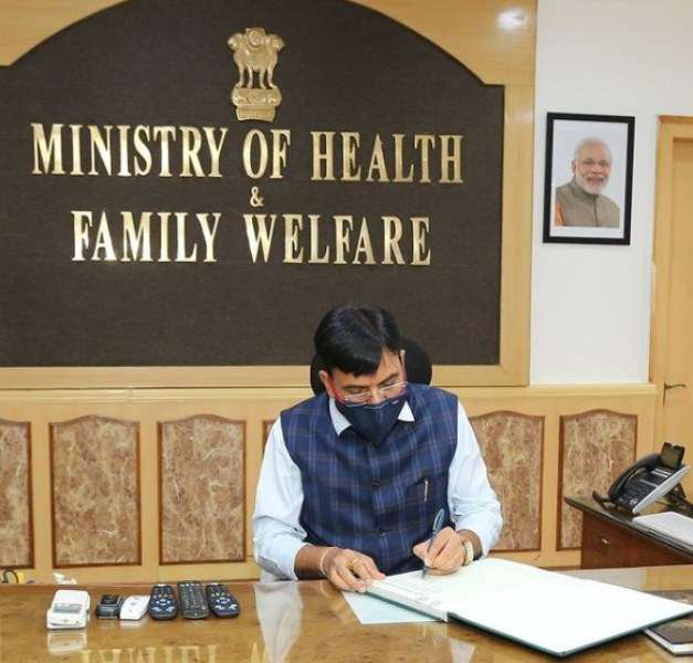 Mansukh Mandaviya assuming his office as Minister of Health and Family Welfare