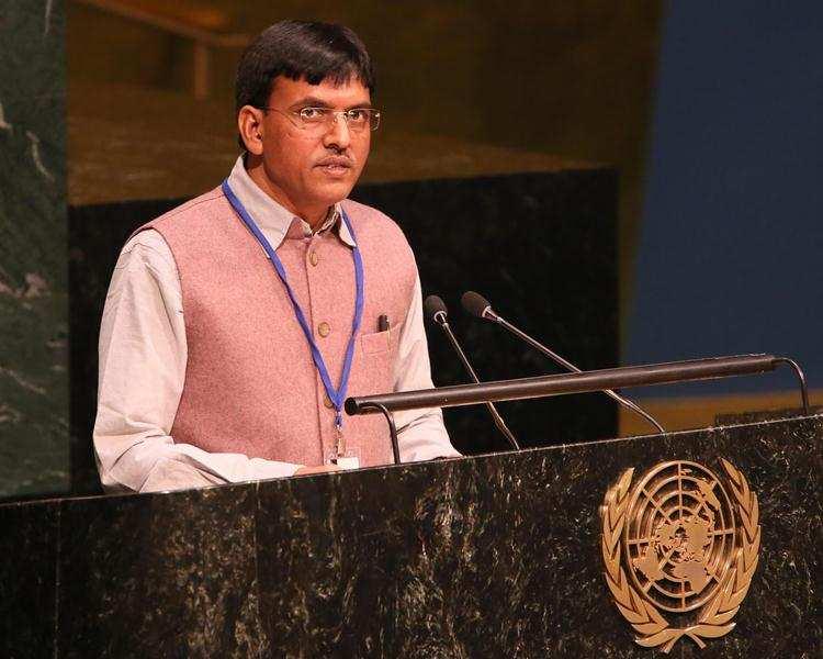 Mansukh Mandaviya addressing a speech at the United Nations