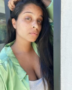 Lilly Singh Hot Cleavage in White T Shirt