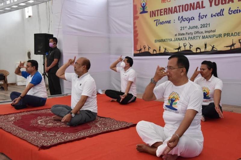 Rajkumar Ranjan Singh while doing Yoga