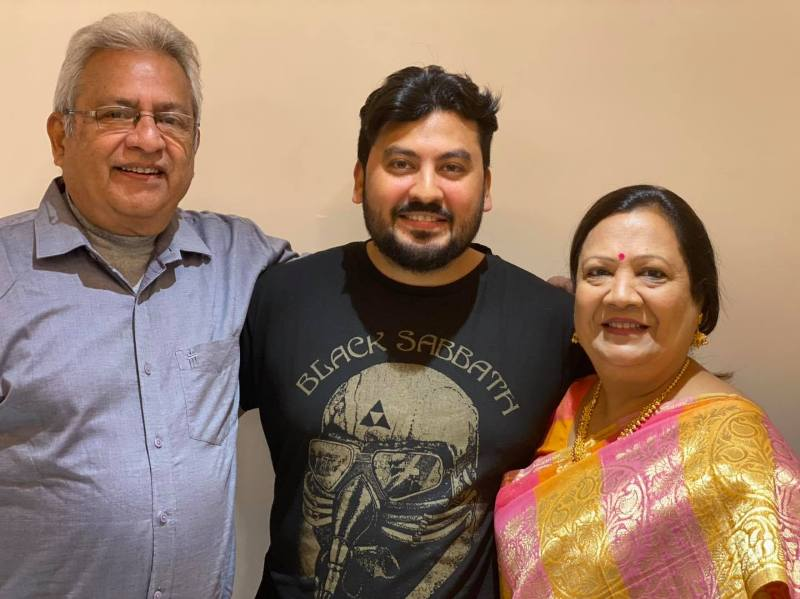 Darshana Jardosh with her husband and one of her sons Pranay