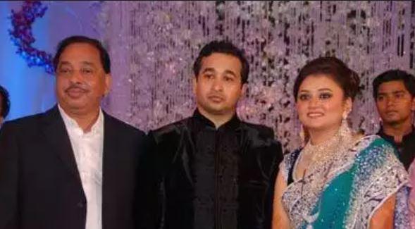 Narayan Rane with his son Nitesh Rane and daughter-in-law Rutuja Rane
