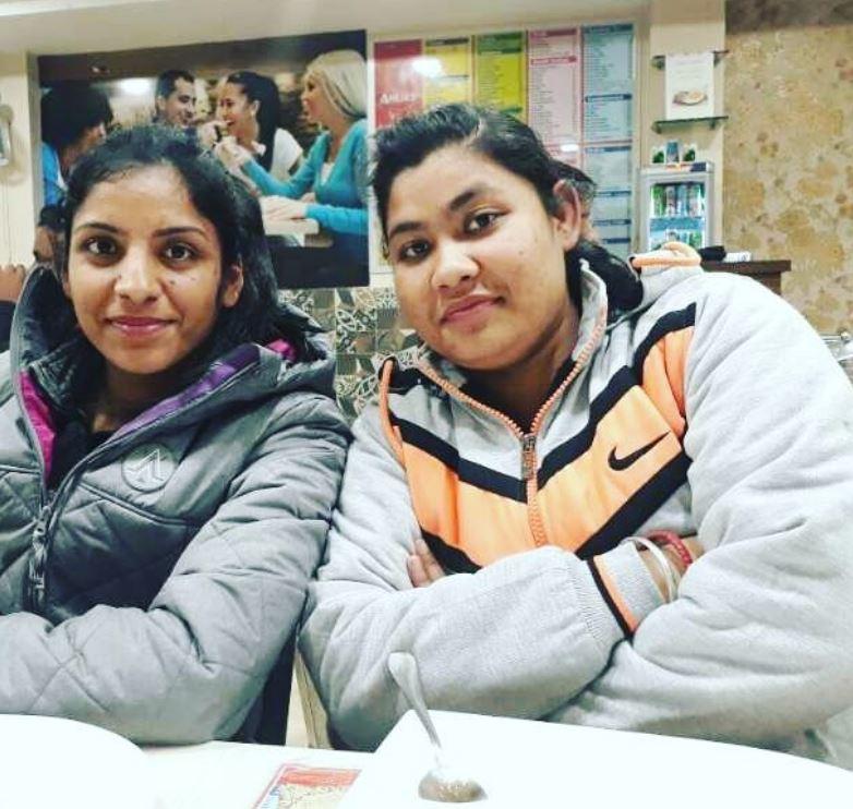 Simranjit Kaur with her elder sister
