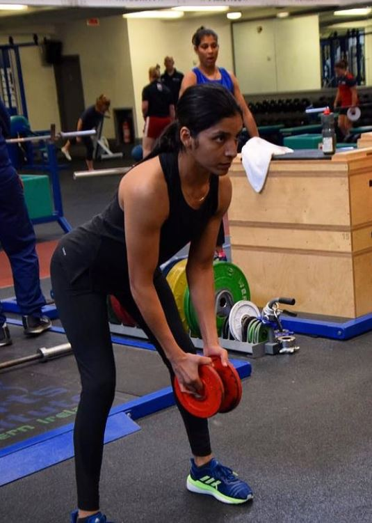 Simranjit Kaur during her workout session