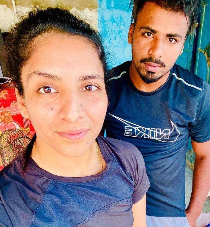 Simranjit Kaur with her brother Golu