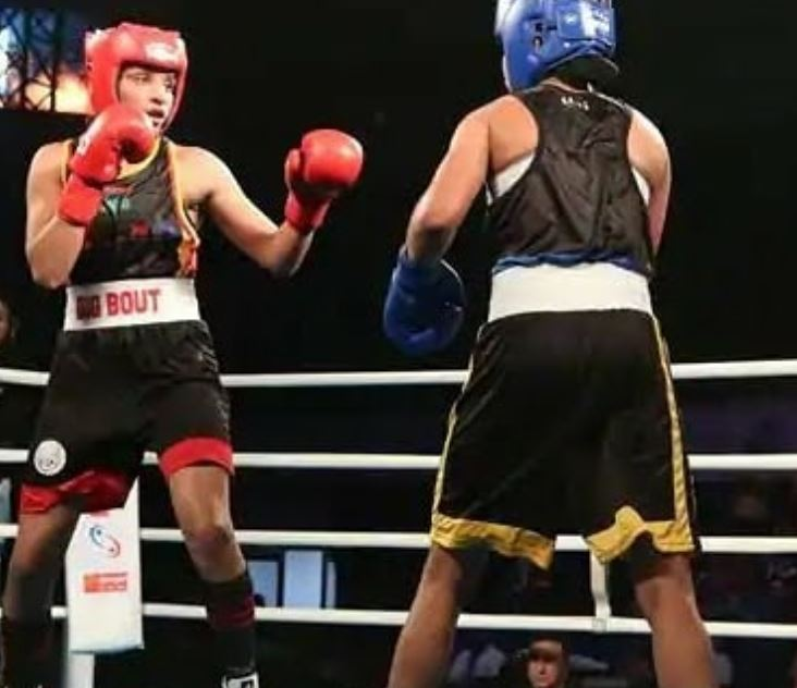 Simranjit Kaur during a boxing event