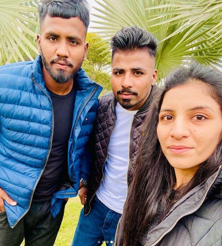 Simranjit Kaur with her brothers
