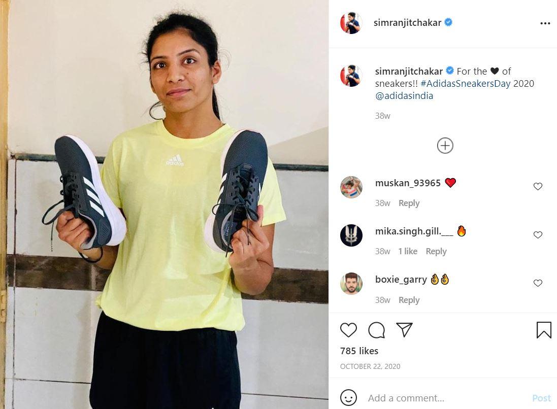 Simranjit Kaur endorsing Adidas