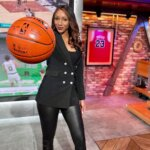 Maria Taylor in black Jeans and Black Jacket