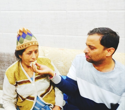 Sanjeev Rajput with his mother