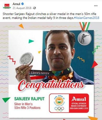 Amul India's Facebook post congratulating Sanjeev Rajput