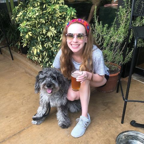 Hayley with a glass of beer