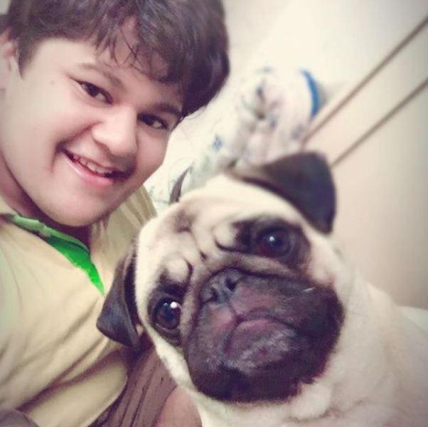 Luv Vispute with his pet dog