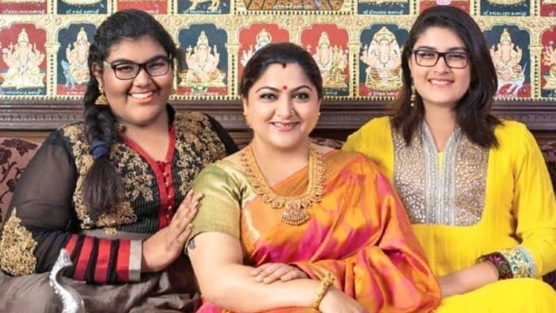 Khushbu Sundar with her daughters Avanthika and Ananditha