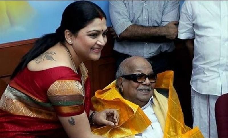 Khushbu Sundar with Karunanidhi