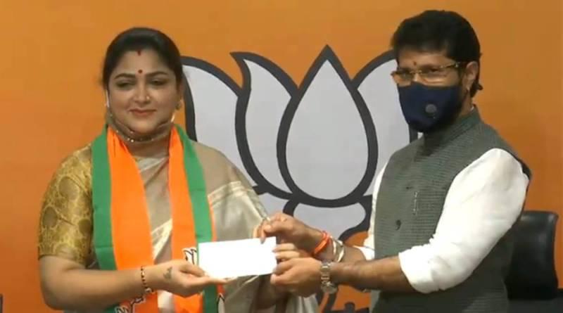 Khushbu Sundar while joining BJP