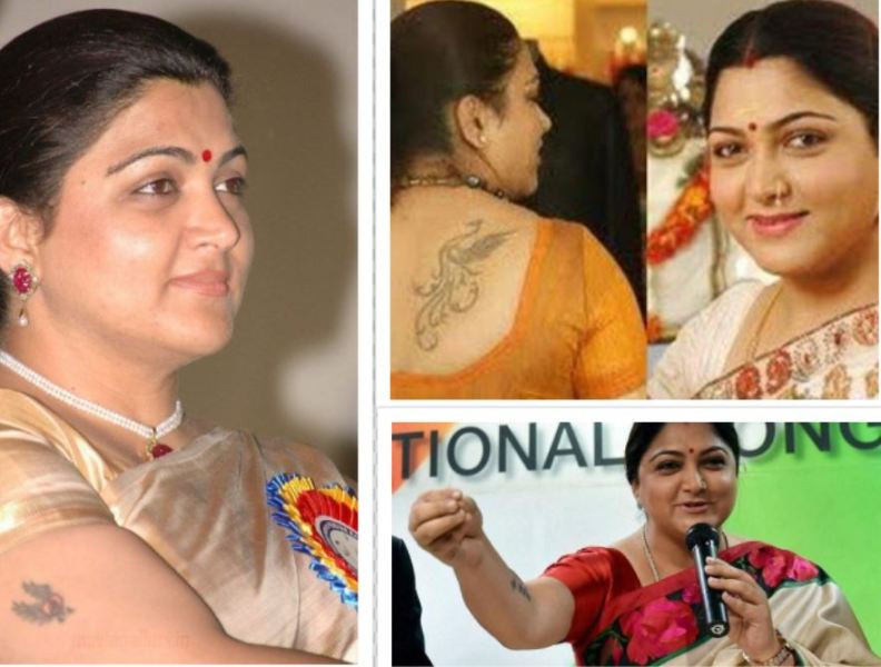 A picture collage of Khushbu Sundar's tattoos