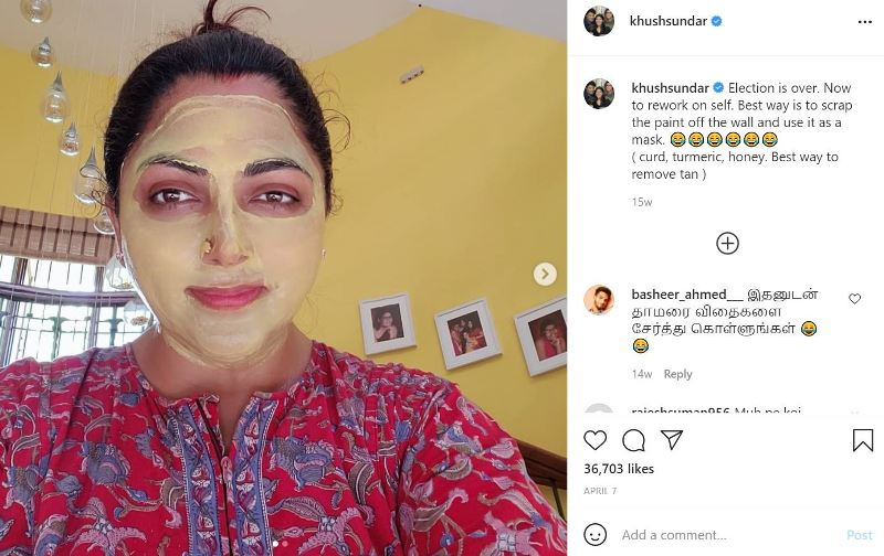 A picture Instagrammed by Khushbu while wearing home made face mask