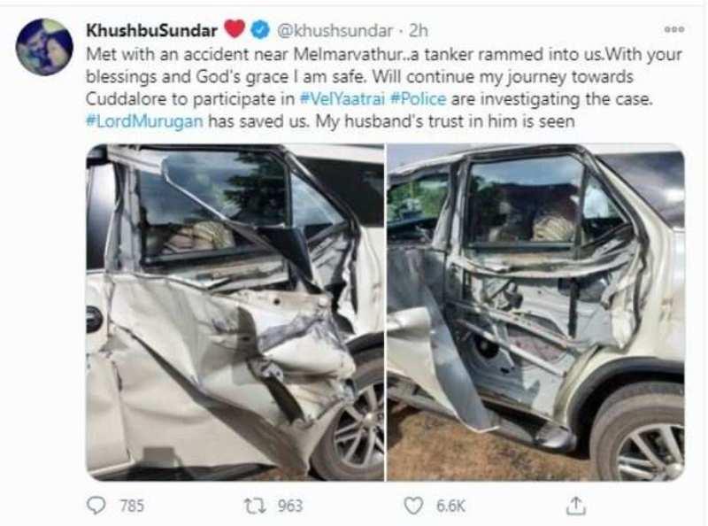 Khushbu Sundar's social media post after her accident in 2020