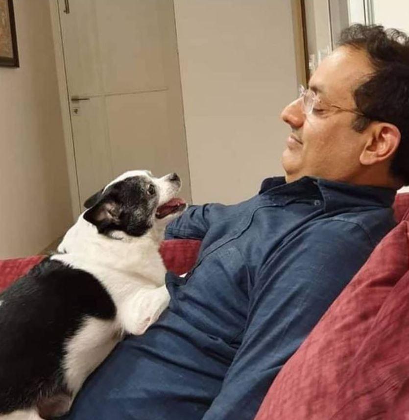 Dr Vikas Divyakirti with his pet dog