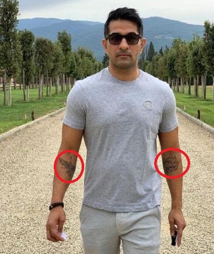 Shakeel Ladak's tattoos on his forearms