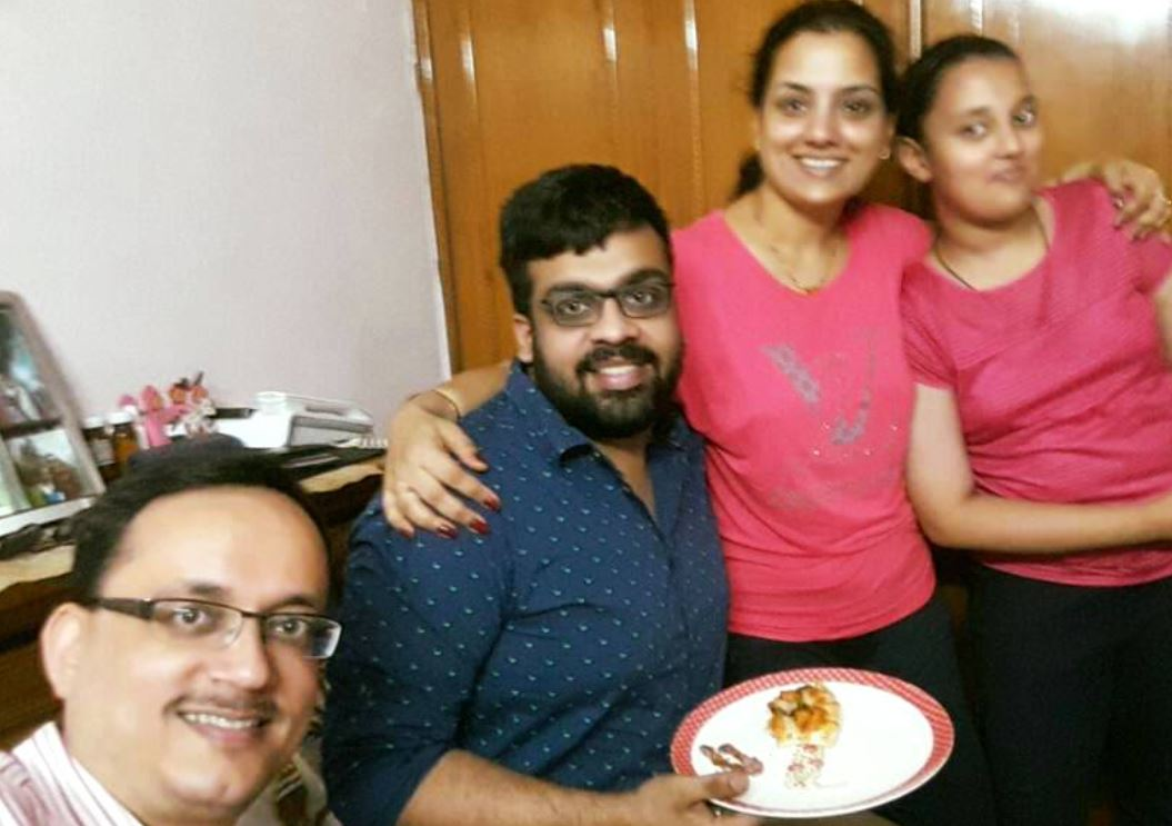 Atish Mathur with his sister, brother-in-law, and niece