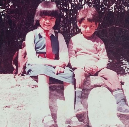 A childhood picture of Celina Jaitly with her brother