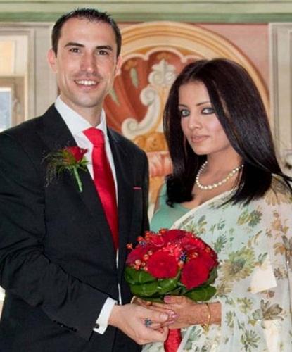 Celina Jaitly with her husband