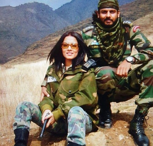Celina Jaitly with her brother