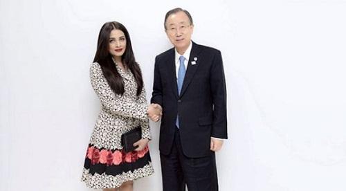 Celina Jaitly with Ban Ki-moon