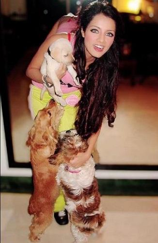 Celina Jaitly with dogs