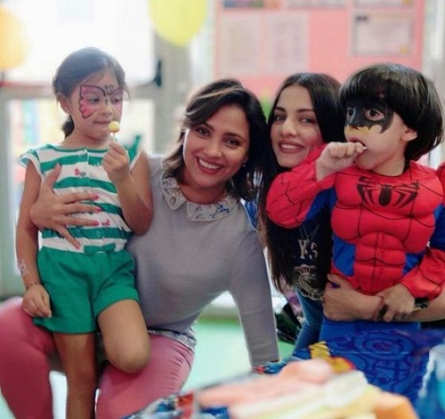 Celina Jaitly and Lara Dutta with their children