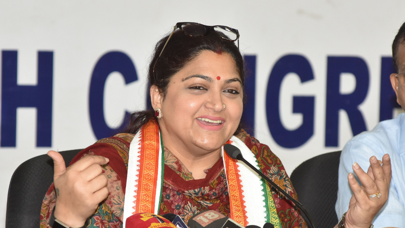 Khushbu Sundar while adressing the party members as a spokesperson of Indian National Congress