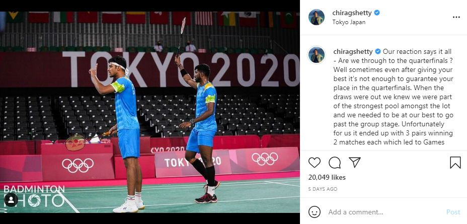 Chirag Shetty's post Olympic post on his Instagram account