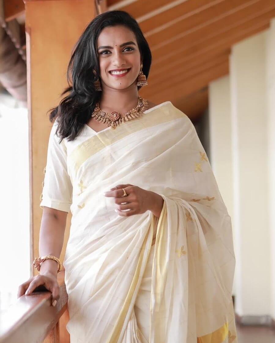 PV Sindhu in saree photo