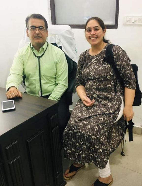 Dr. Hemant Kalra with one of his patients