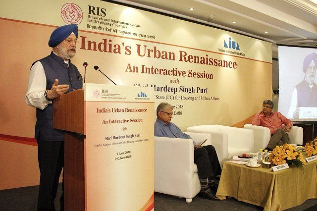 Hardeep Singh Puri during an interactive session organized by the Research and Information System for Developing Countries (RIS)