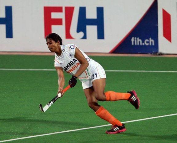 Vandana Katariya during a hockey match