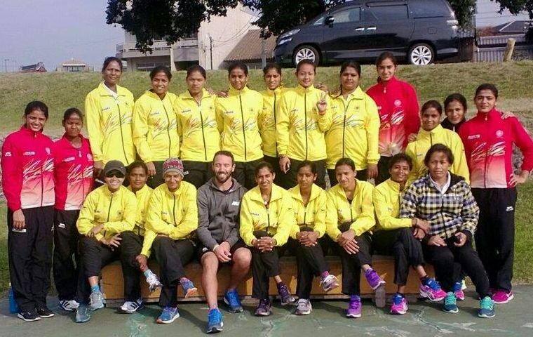 Vandana Katariya with the Indian women hockey team