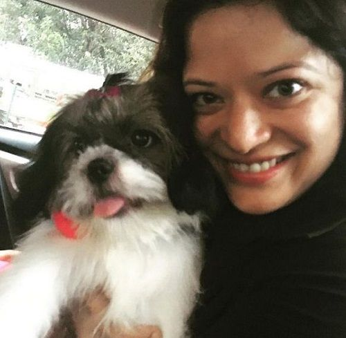 Arzoo Govitrikar with her pet dog