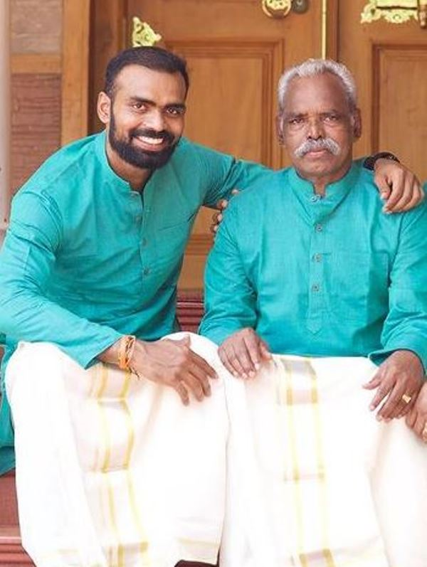 P. R. Sreejesh with his father