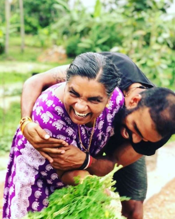P. R. Sreejesh with his mother