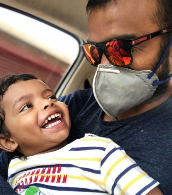 P. R. Sreejesh with his son