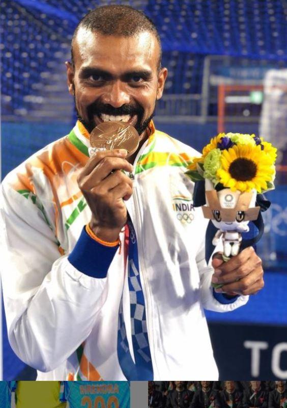 P. R. Sreejesh bitting his Tokyo Olympics 2020 bronze medal