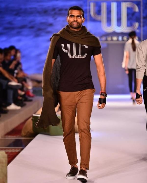 P. R. Sreejesh walking down the runway