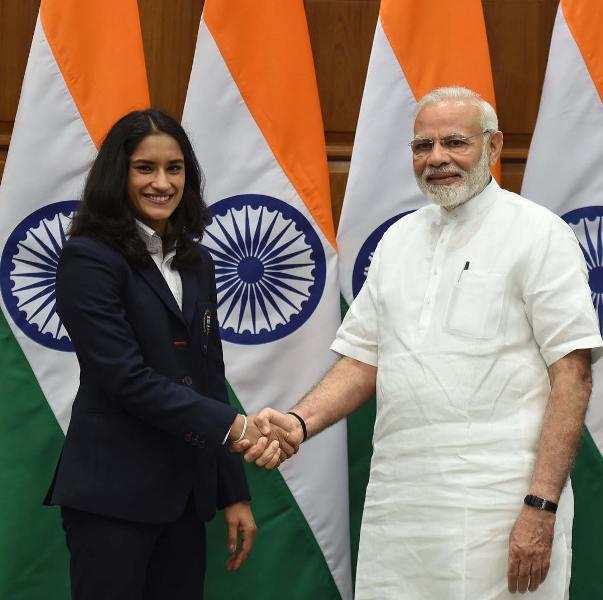 Vinesh Phogat while meeting Indian Prime Minister Narendra Modi in 2019