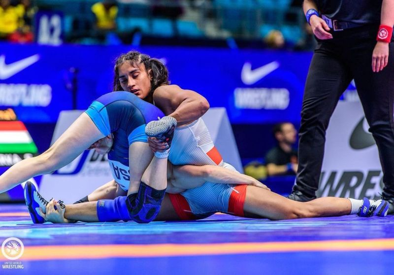 Vinesh Phogat while wrestling in a championship