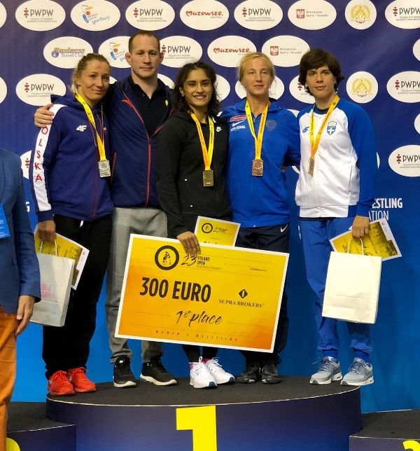 Vinesh Phogat while posing after winning the game in Poland in 2019