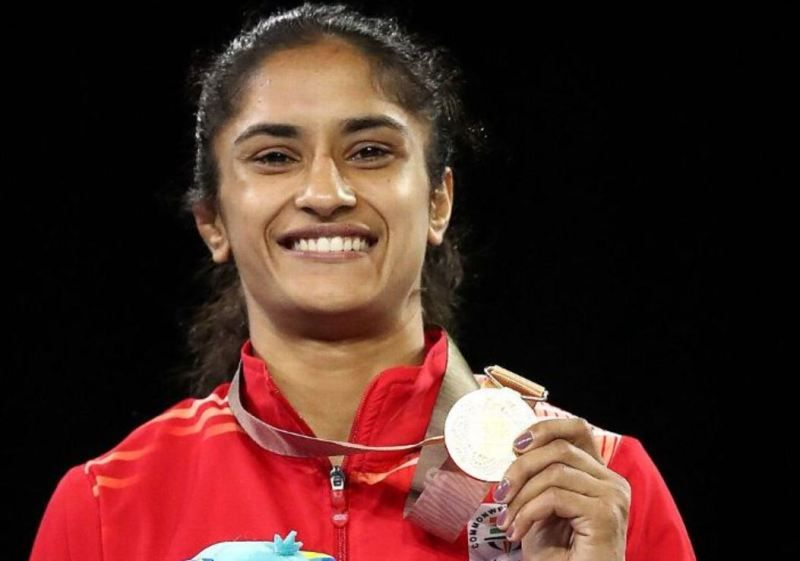 Vinesh Phogat poses with her gold medal at the 2018 Commonwealth Games