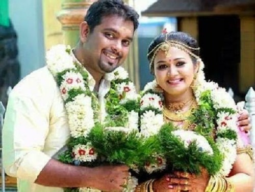 Saranya Sasi and Binu Xavier on their wedding day